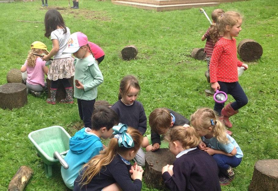 EYFS pupils observing wildlife in the conservation area